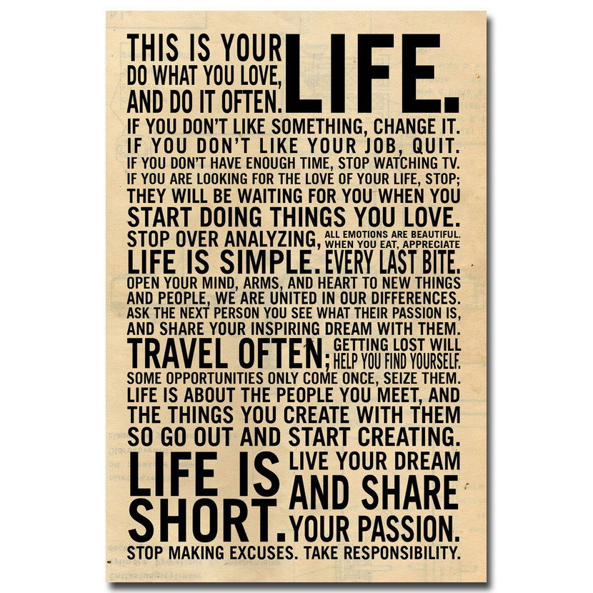 60 LOVE LIFE Education Motivational Words Decor WALL PRINT POSTER Awesome Motivational Words