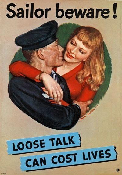 84405 Vintage Sailor Beware Loose Talk Navy Decor WALL PRINT POSTER CA