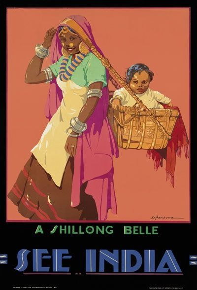 84779 Vintage See India Shillong Belle Indian Travel Decor WALL PRINT POSTER CA