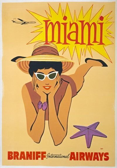 84855 Vintage 1950 Miami Florida America Travel Decor WALL PRINT POSTER CA