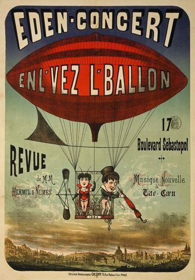 85030 Vintage 1884 French Circus Balloon AdGrünisement WALL PRINT POSTER CA