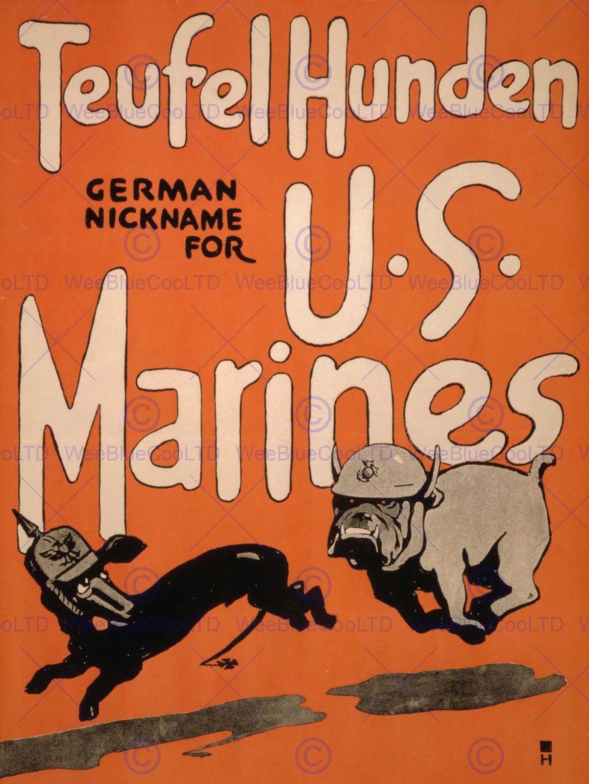 85436 WAR US MARINES RECRUIT ENLIST DOG DEVIL MILITARY WALL PRINT POSTER CA
