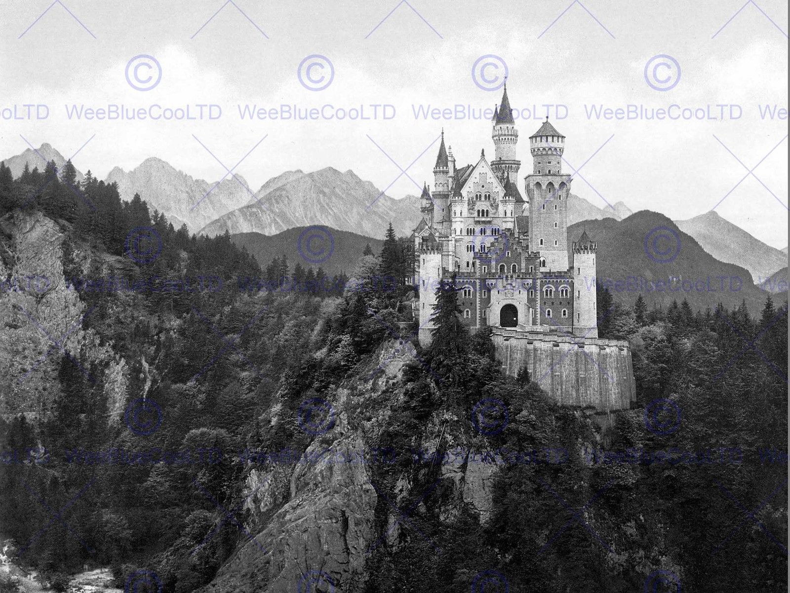 85487 NEUSCHWANSTEIN CASTLE BAVARIA GERMANY OLD BW Decor WALL PRINT POSTER CA