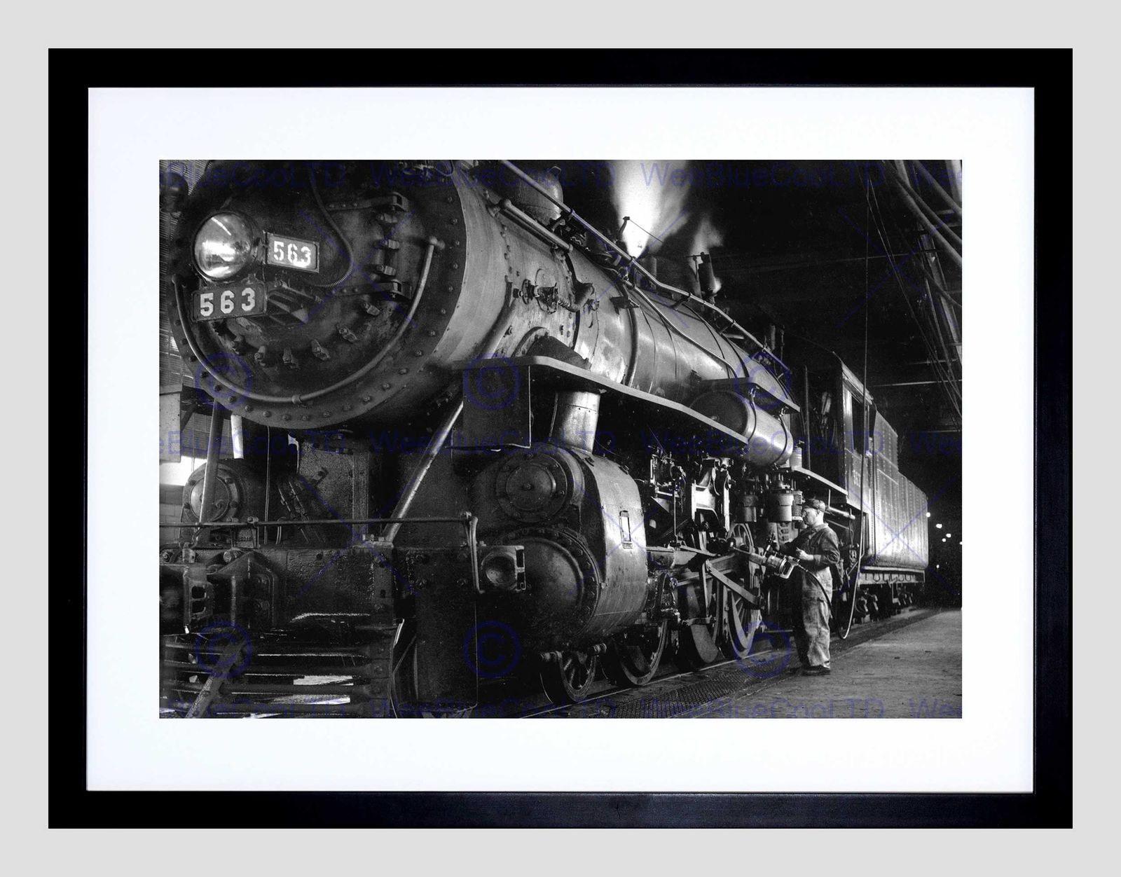 85543 1955 STEAM TRAIN WINSTON LINK ENGINE NEW MOUNT Decor WALL PRINT POSTER CA