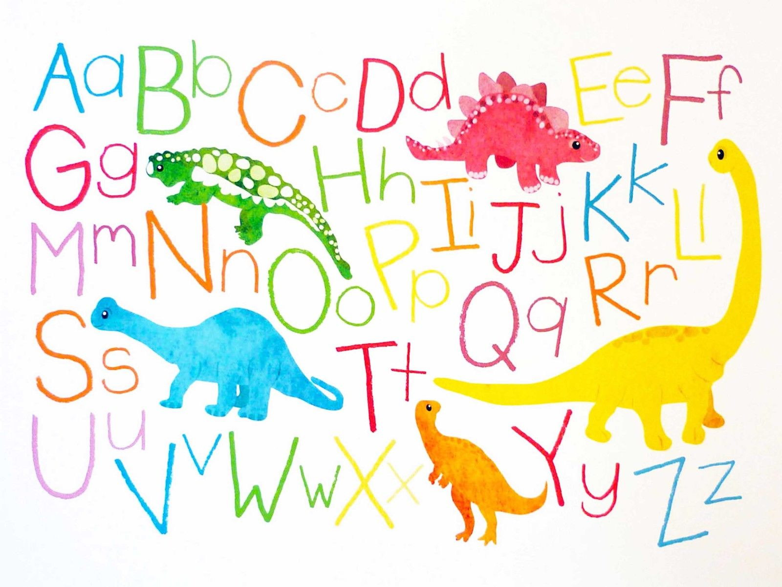 86775 Drawing Children Kids Dinosaur Alphabet Colour Decor Wall