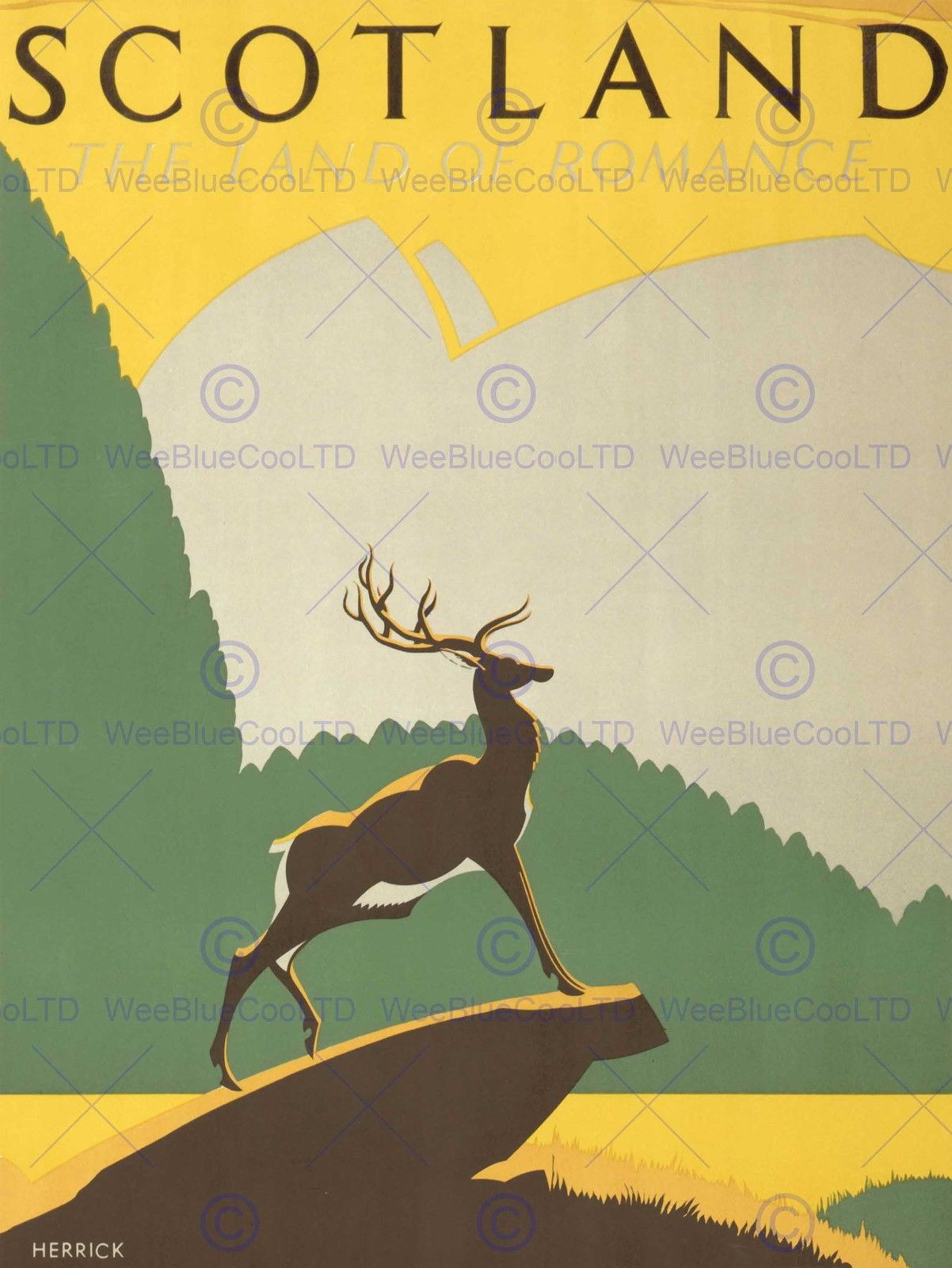 86863 TOURISM TRANSPORT SCOTLAND STAG ANCHOR HIGHLANDS WALL PRINT POSTER CA