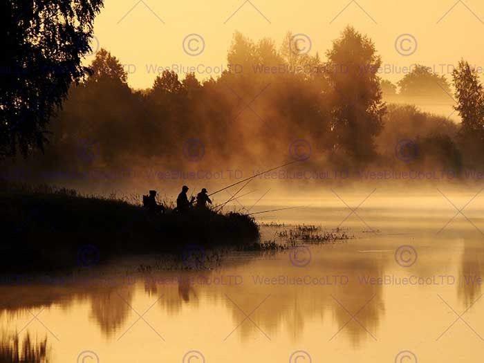 86983 MORNING FOG FISHING LAKE braun SEPIA SILHOUETTE Decor WALL PRINT POSTER CA