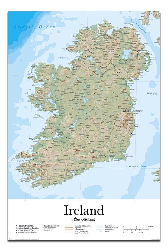 88898 Ireland Map Decor WALL PRINT POSTER CA
