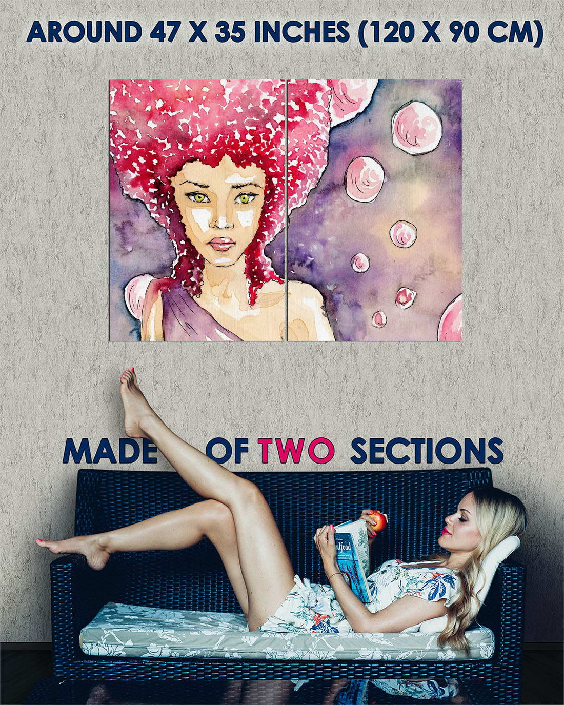117590 DRAWING DESIGN C OON GIRL GIRL GIRL rosso HAIR BUBBLES Decor WALL PRINT POSTER FR 4a0148