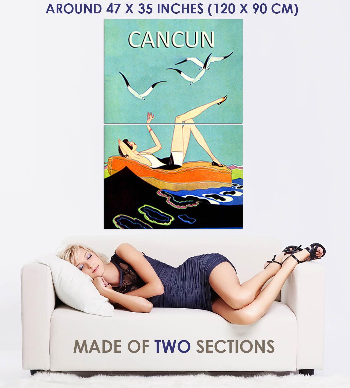 170319-Cancun-Mexico-Beach-Ocean-Lady-Retro-Decor-WALL-PRINT-POSTER-AU