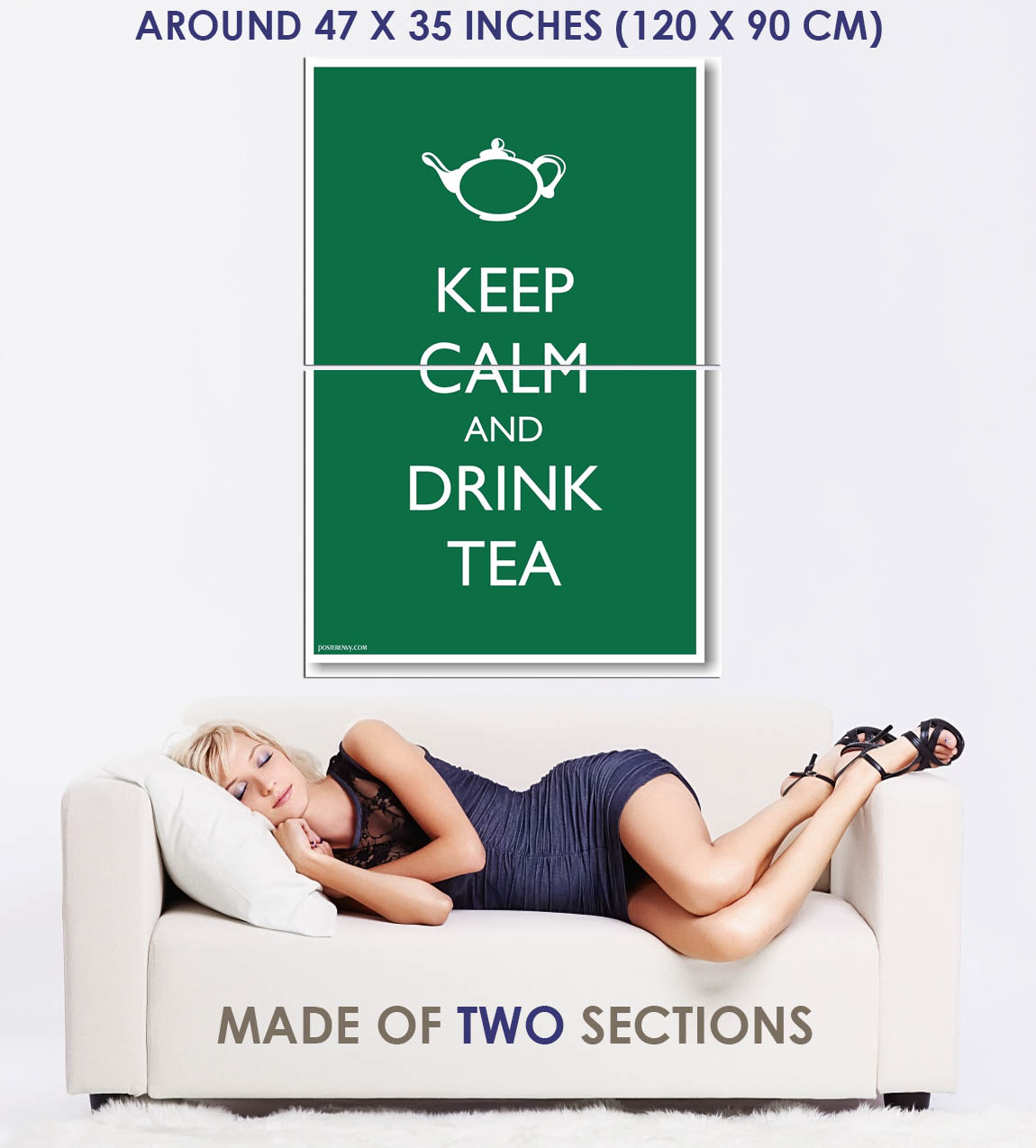 173802-Keep-Calm-and-Drink-Tea-Green-Background-Humor-WALL-PRINT-POSTER-FR miniature 5