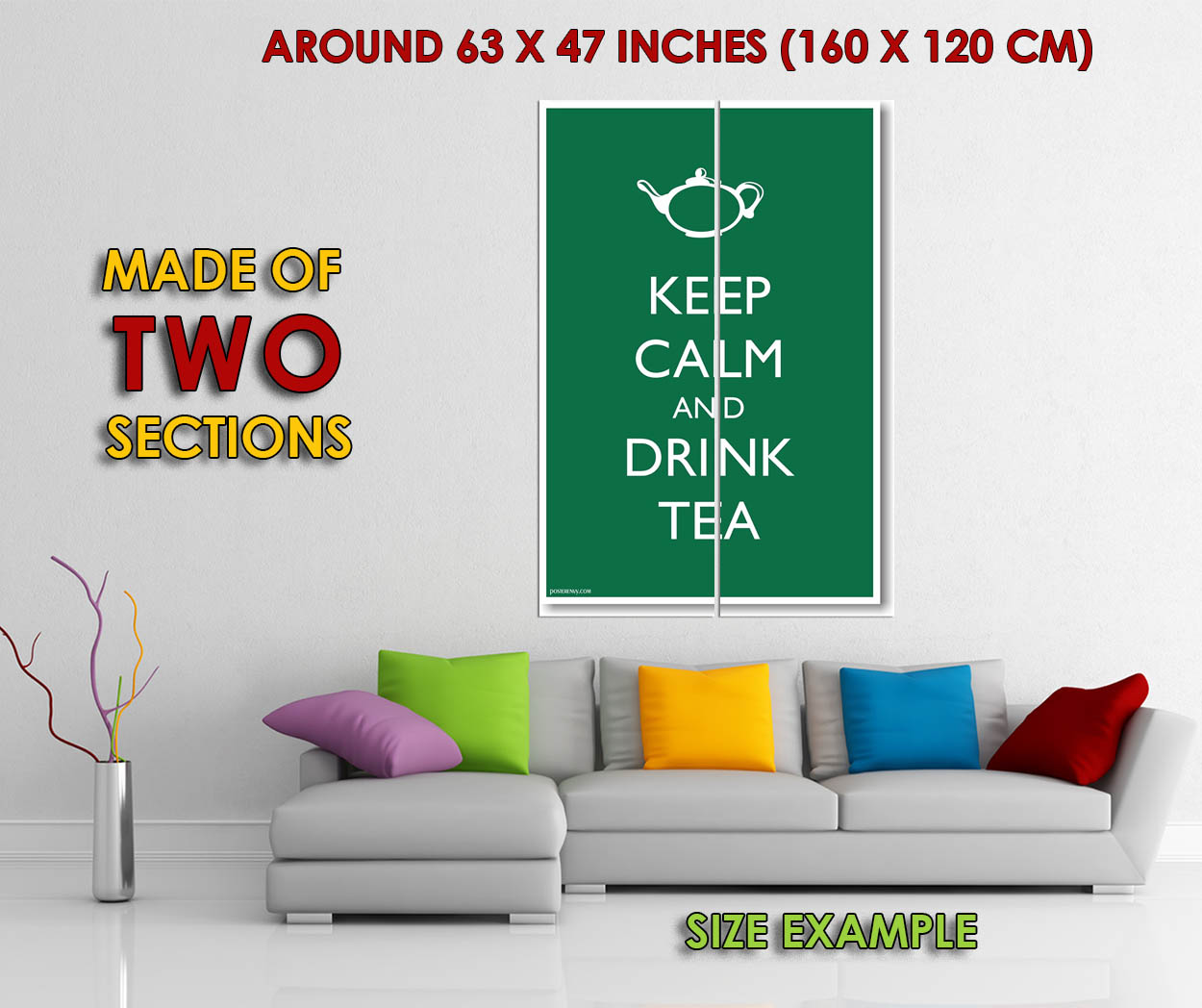 173802-Keep-Calm-and-Drink-Tea-Green-Background-Humor-WALL-PRINT-POSTER-FR miniature 6