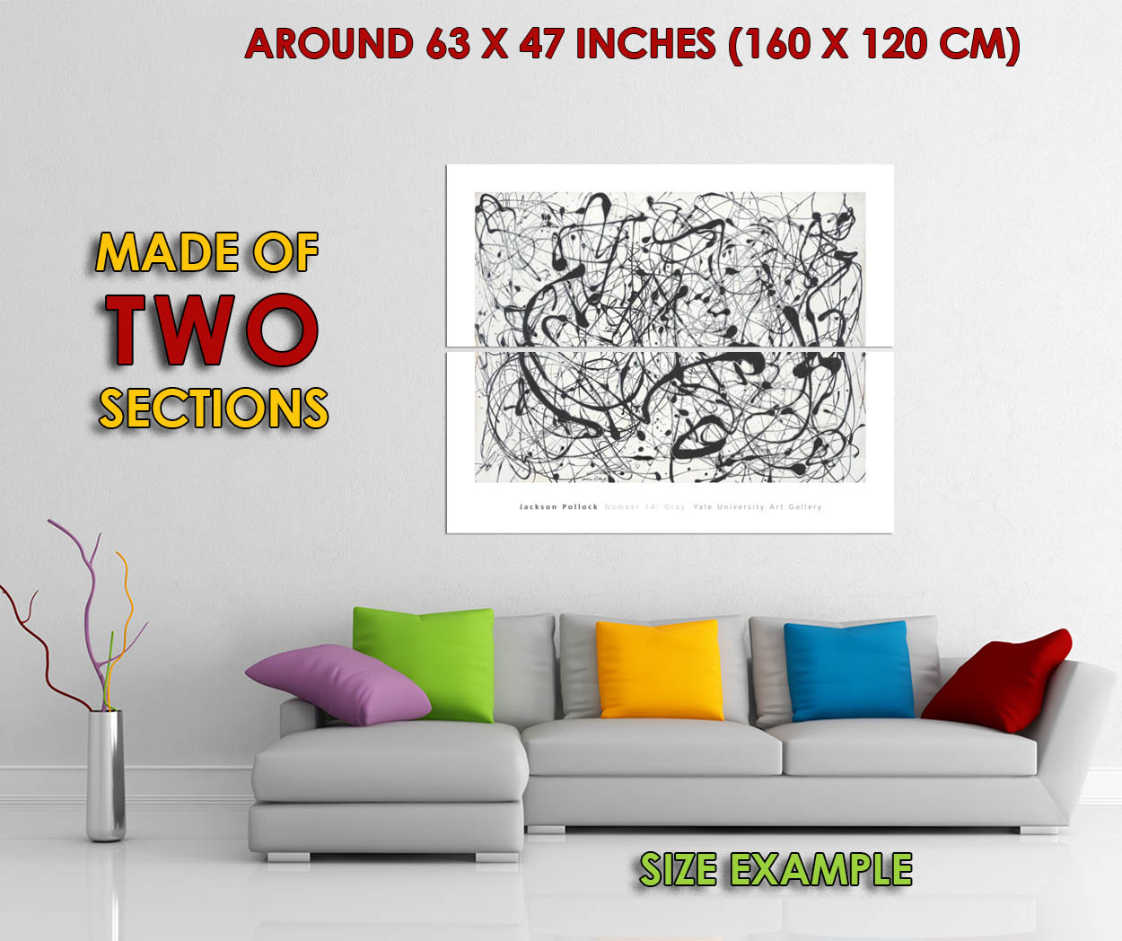 175354-Number-14-Gray-by-Jackson-Pollock-Abstract-Decor-WALL-PRINT-POSTER-UK thumbnail 6