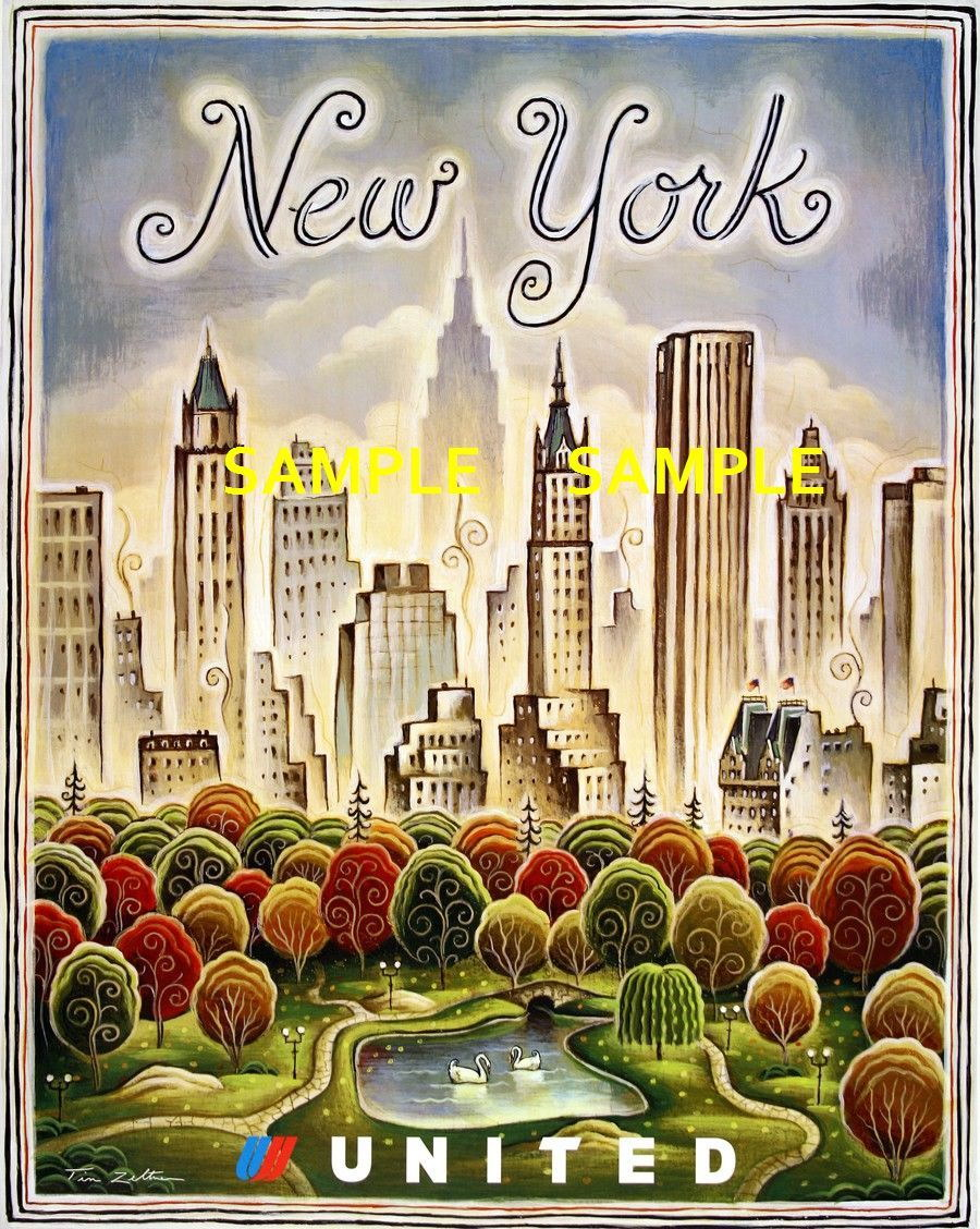 100325 United Airlines New York Collector Travel Decor WALL PRINT POSTER AU