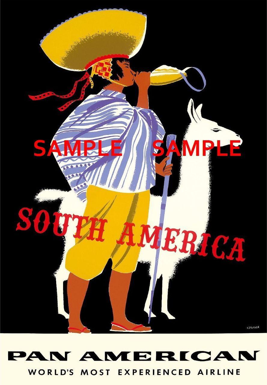 100344 Pan American Air Lines Travel SOUTH AMERICA Decor WALL PRINT POSTER AU