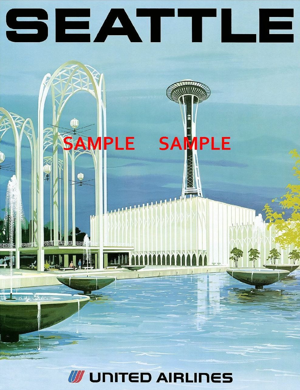 100410 United Air Line Travel SEATTLE Decor WALL PRINT POSTER AU