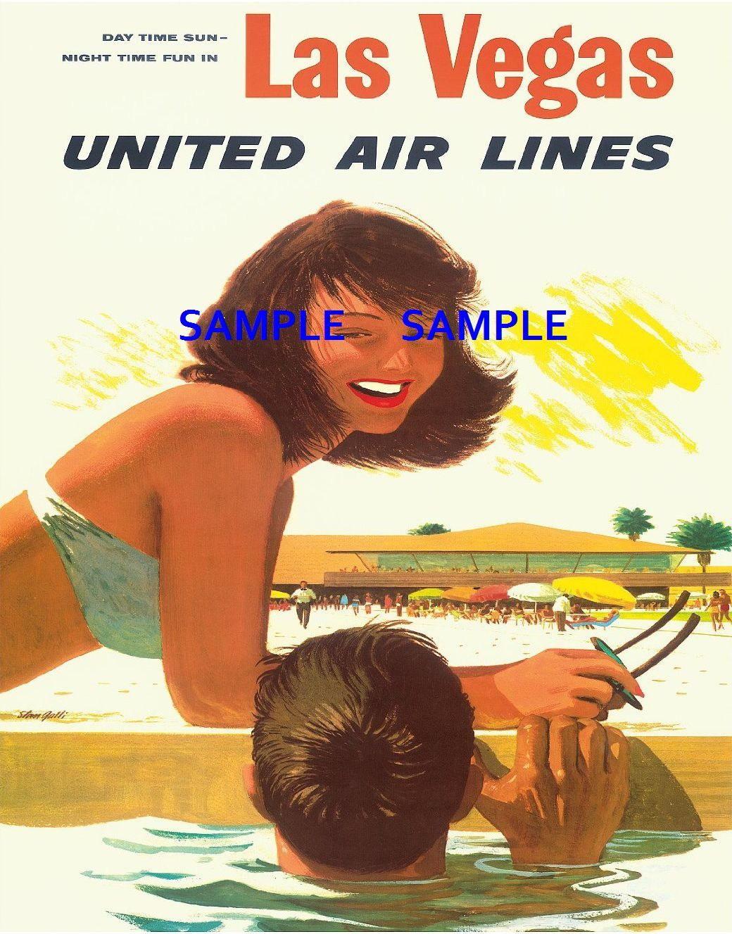100479 United Air Line Travel Las Vegas Decor WALL PRINT POSTER AU