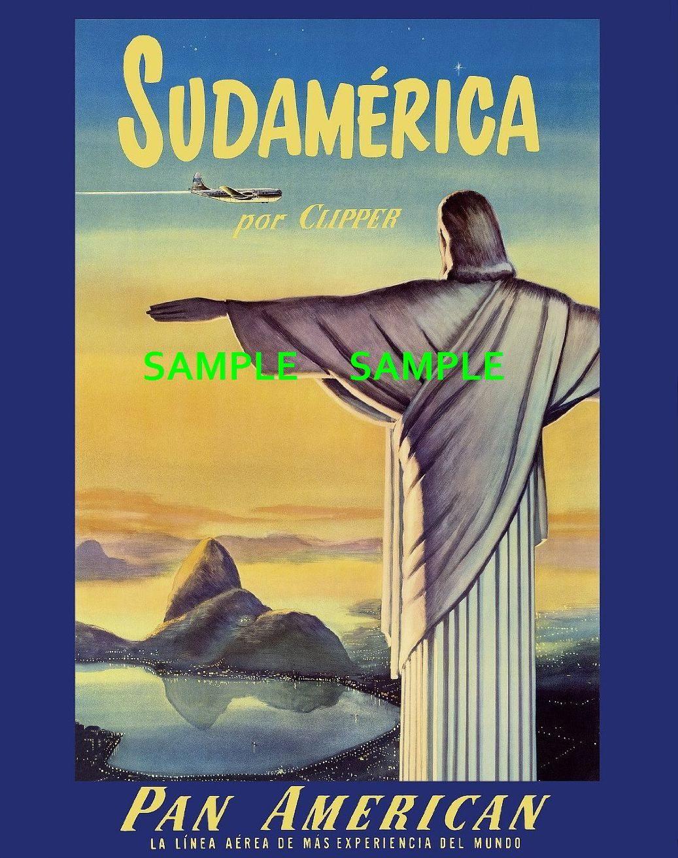 100803 Pan American Air Lines Travel SUDAMERICA RIO Decor WALL PRINT POSTER AU