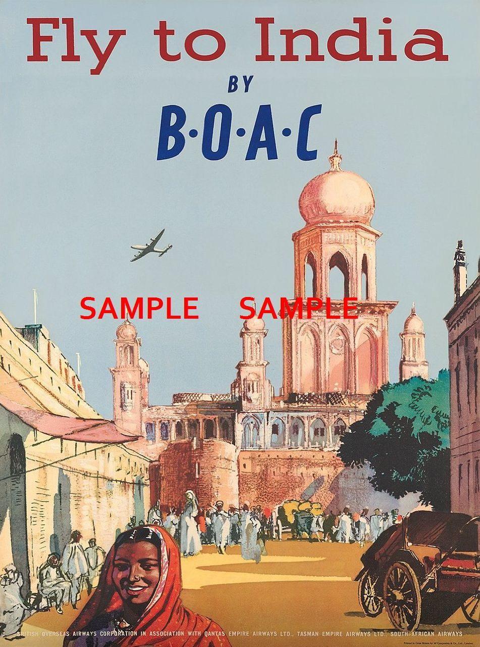 100823 BOAC Airways India Travel Decor WALL PRINT POSTER AU