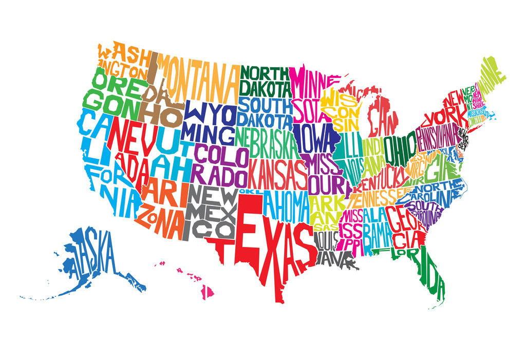 100980 united states of america usa word map art decor wall print