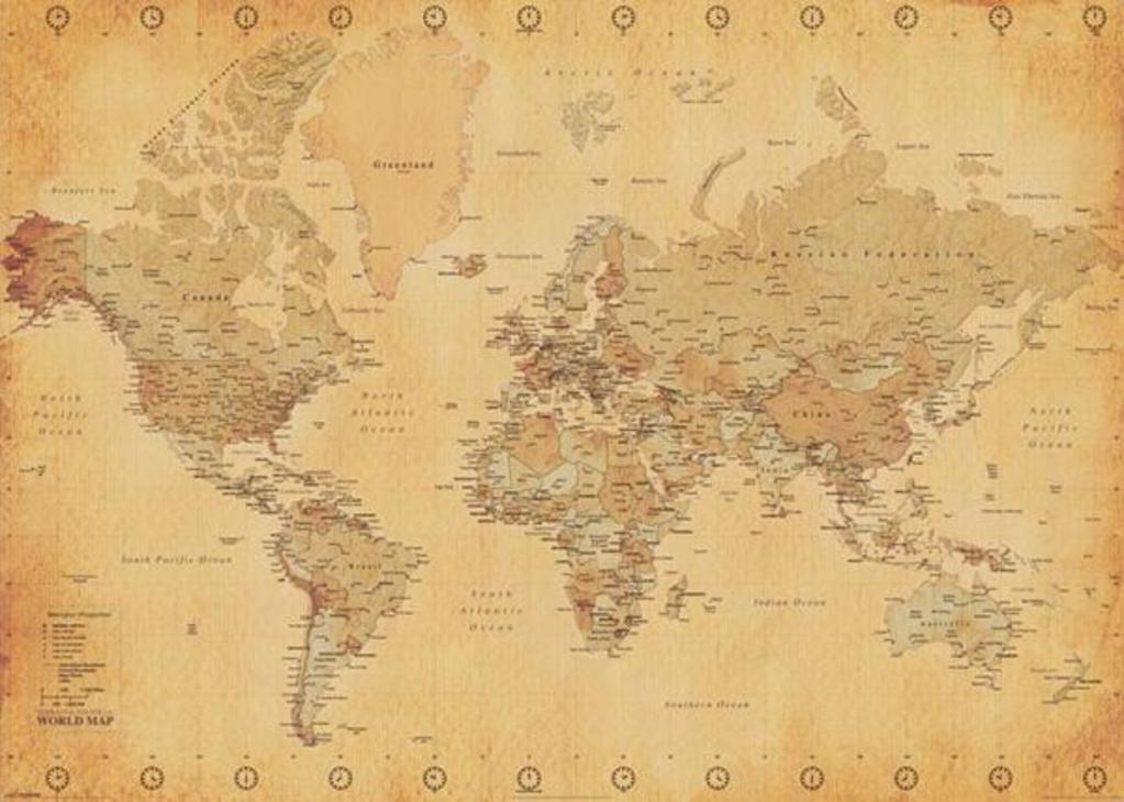 Map Of Uk On Globe.101551 World Map Antique Vintage Globe Atlas Giant Decor Wall Print