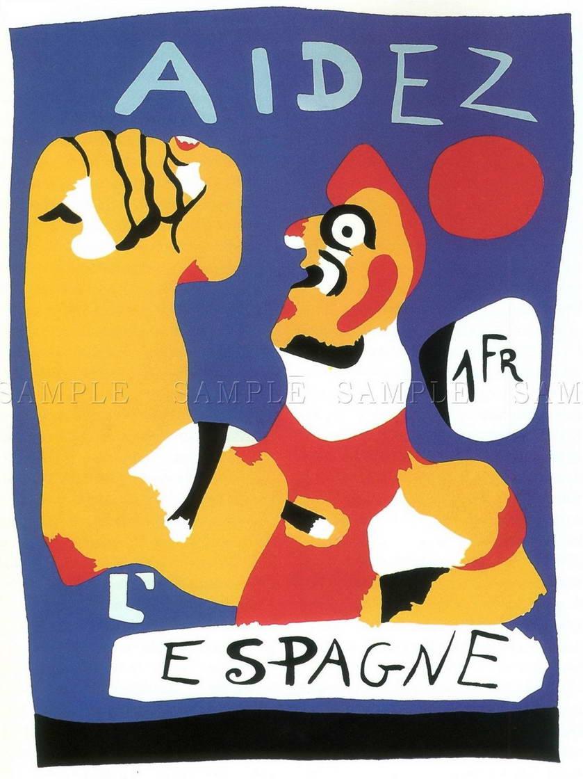 109888 WAR PROPAGANDA HELP SPAIN SPANISH CIVIL MIRO AID WALL PRINT POSTER CA