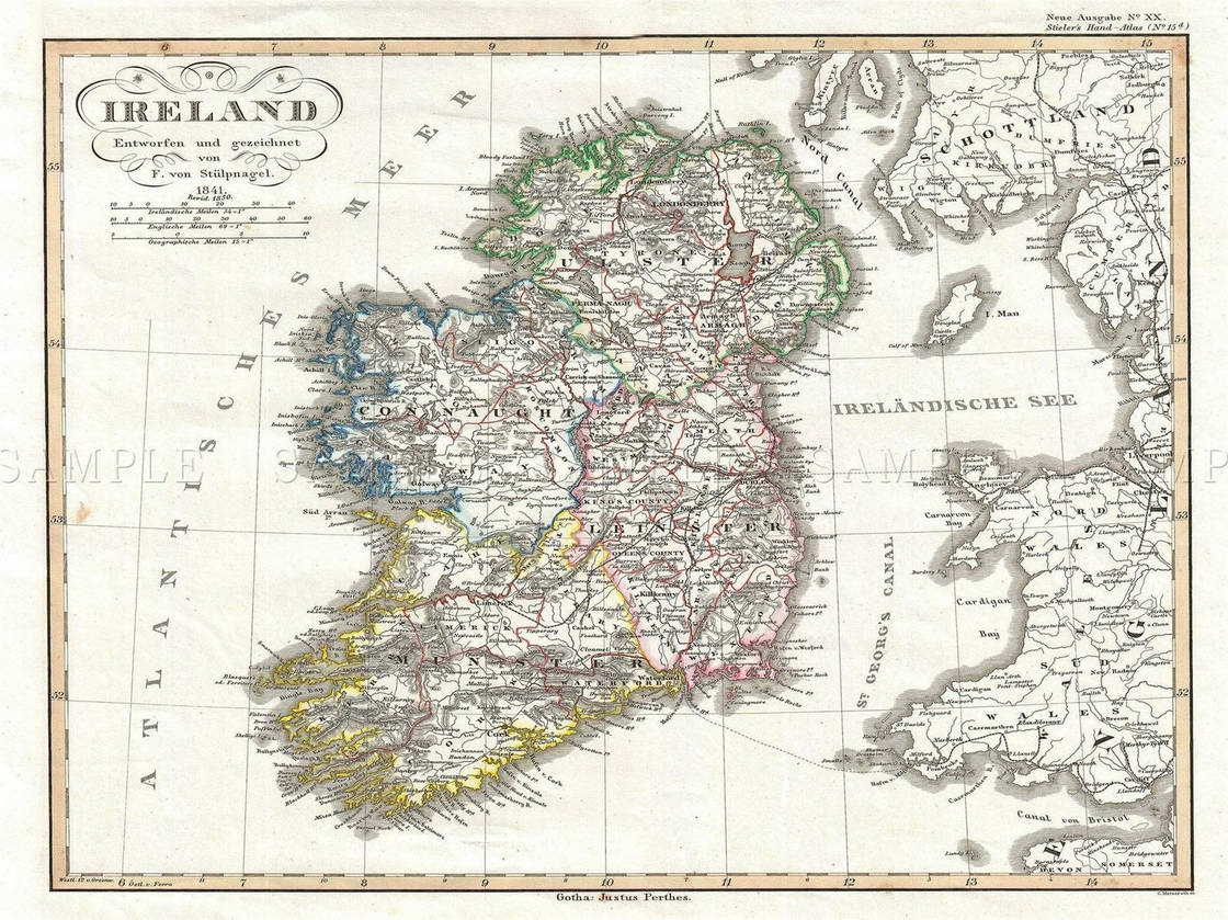 Print Map Of Ireland.112822 Justus Perthes Map Ireland Four Districts Decor Wall Print