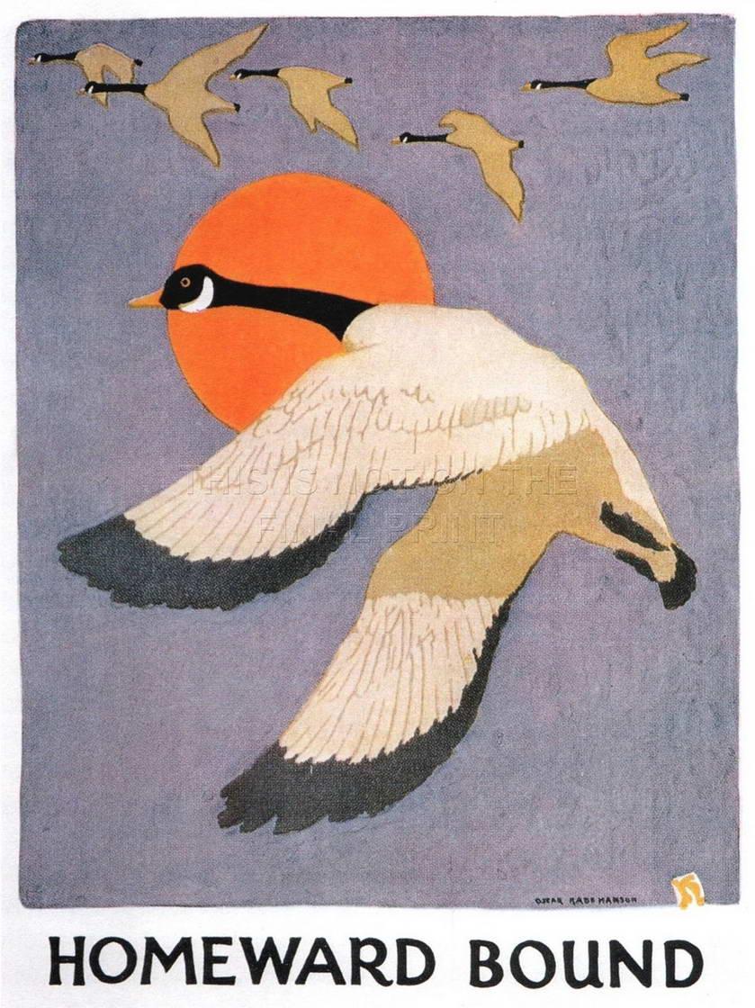 113828-PAINTING-GEESE-SUN-BIRD-HANSON-HOMEWARD-BOUND-Decor-WALL-PRINT-POSTER-AU