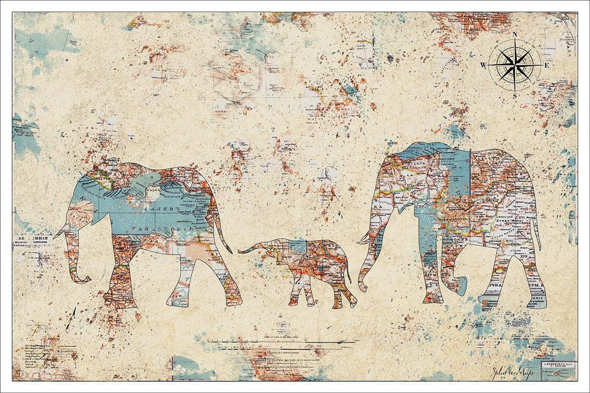 120003 Watercolour World Map Decor LAMINATED POSTER UK