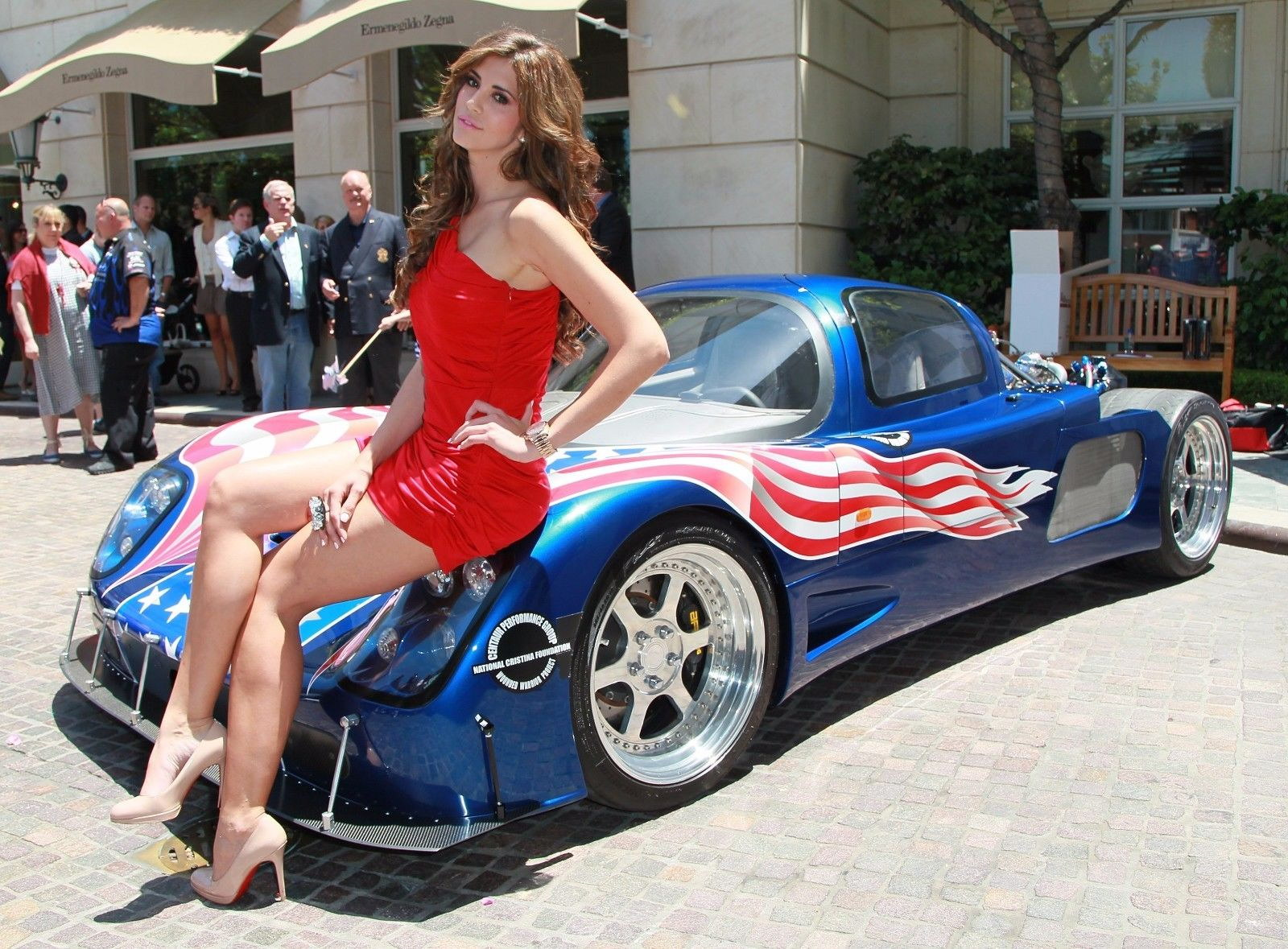 126836 Hot Model on Race Car Decor WALL PRINT POSTER AU