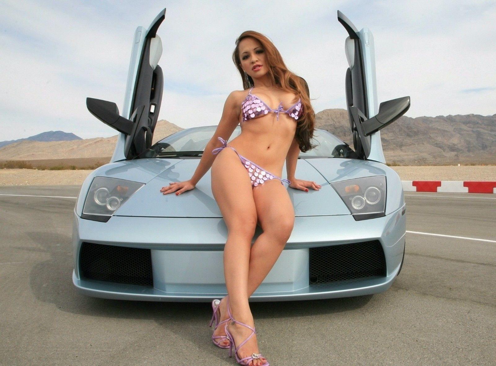127295 Beautiful Girl on Super Sport Car Decor WALL PRINT POSTER AU