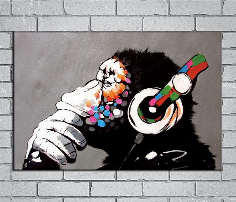 144200 Hip-Hop Banksy Street DJ Monkey Chimp Music inc Wall Print Poster Plakat
