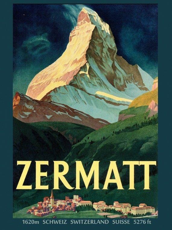 TRAVEL TOURISM MATTERHORN MOUNTAIN ZERMATT SWITZERLAND ALPINE SNOW POSTER 2428PY