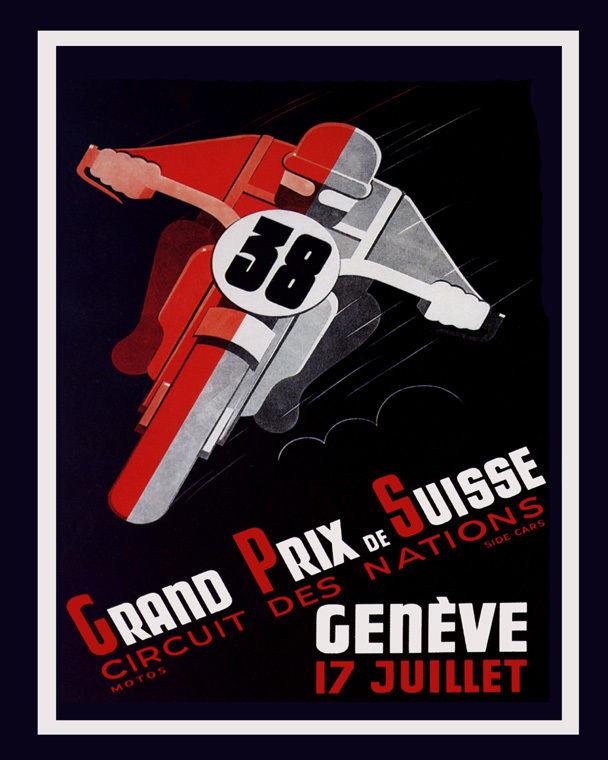 171577 Motorcycle Bike Race in Geneva Switzerland Decor WALL PRINT POSTER US