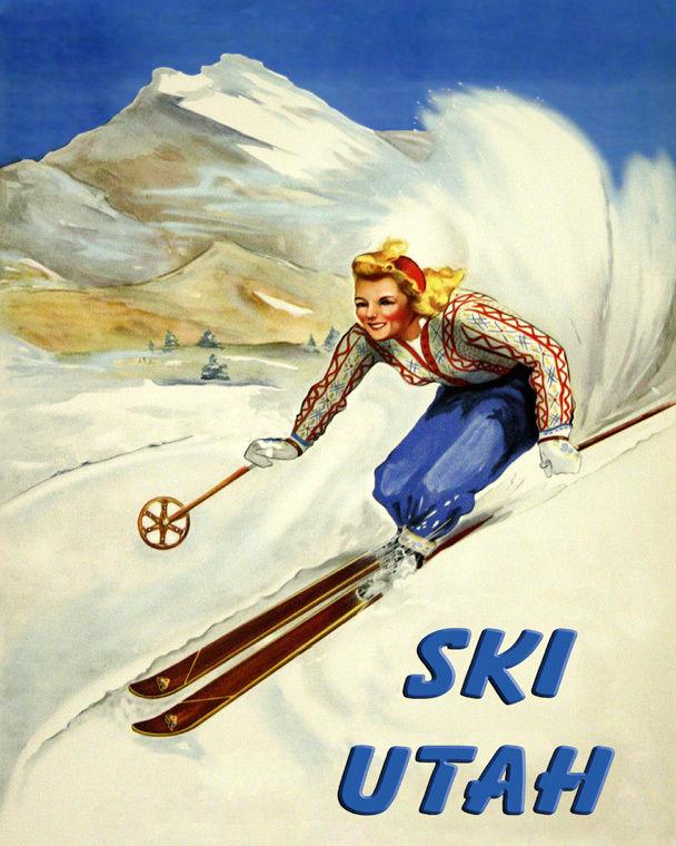 172008 Ski Utah Skiing American Winter Sport Mountains WALL PRINT POSTER US