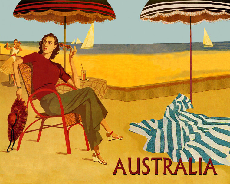172093 Australia Beach Lady Dance Ocean Sea Sailboat Decor WALL PRINT POSTER CA