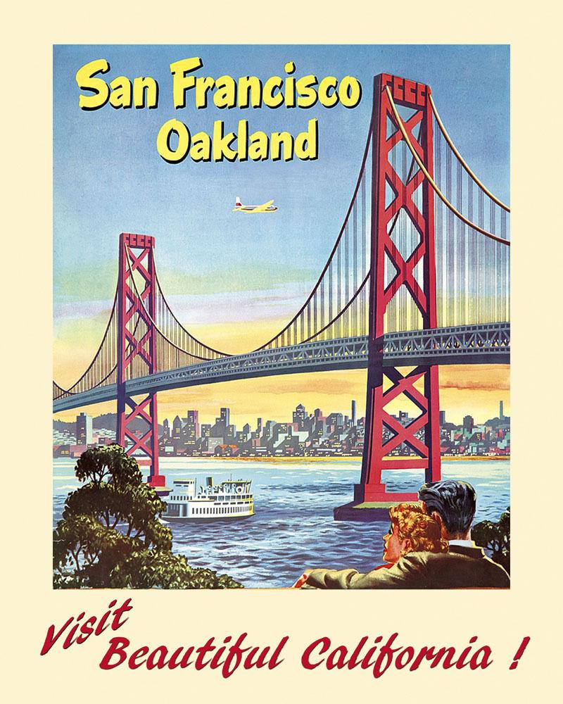 172276 Visit San Francisco Oakland oroen Gate Bridge Decor Decor Decor WALL PRINT POSTER FR 5a7f9c