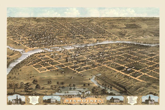 172834 Des Moines Iowa Map 1800\'s Bird\'s Eye View Decor WALL PRINT ...