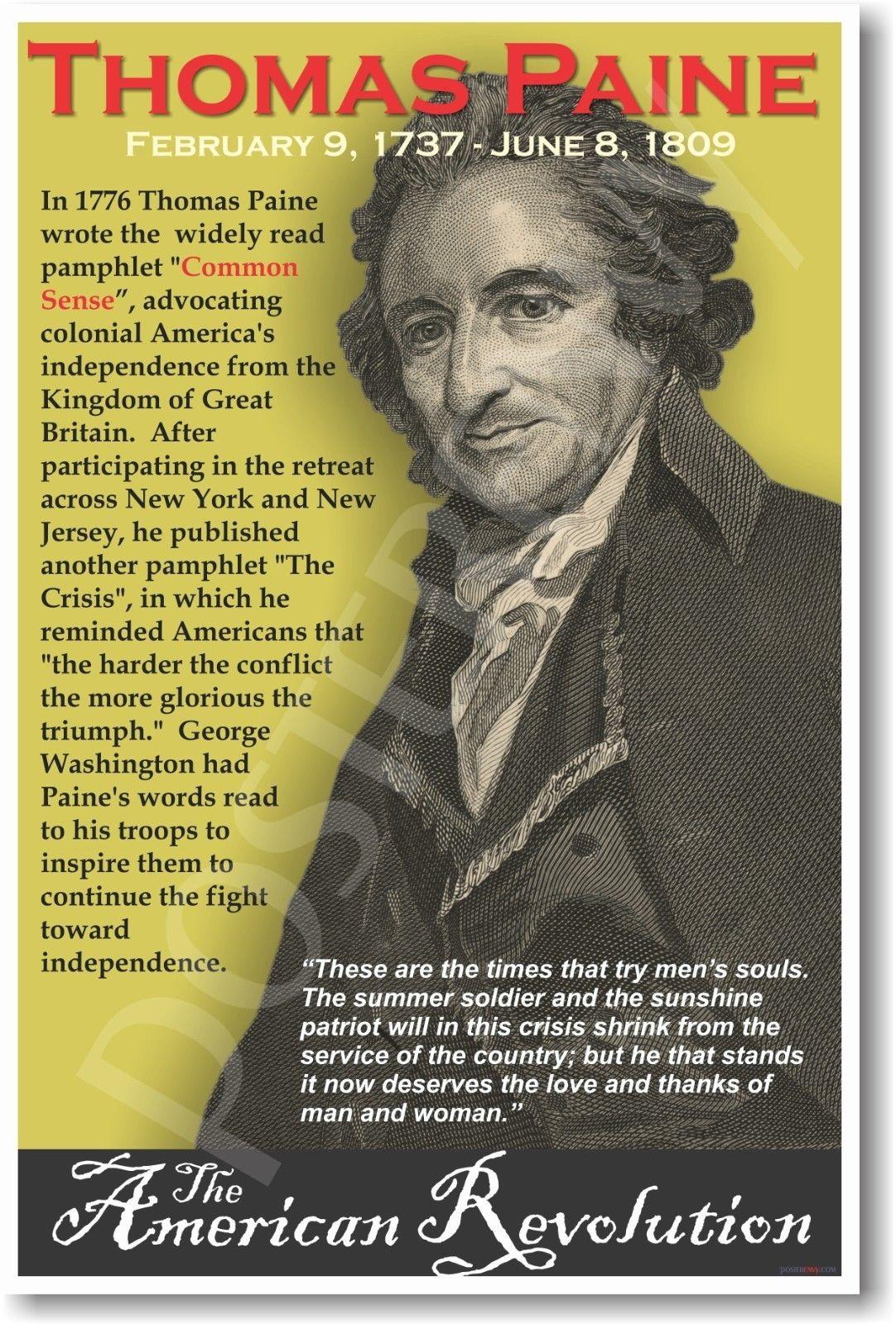 173131 Thomas Paine American Social Studies US History WALL PRINT POSTER US