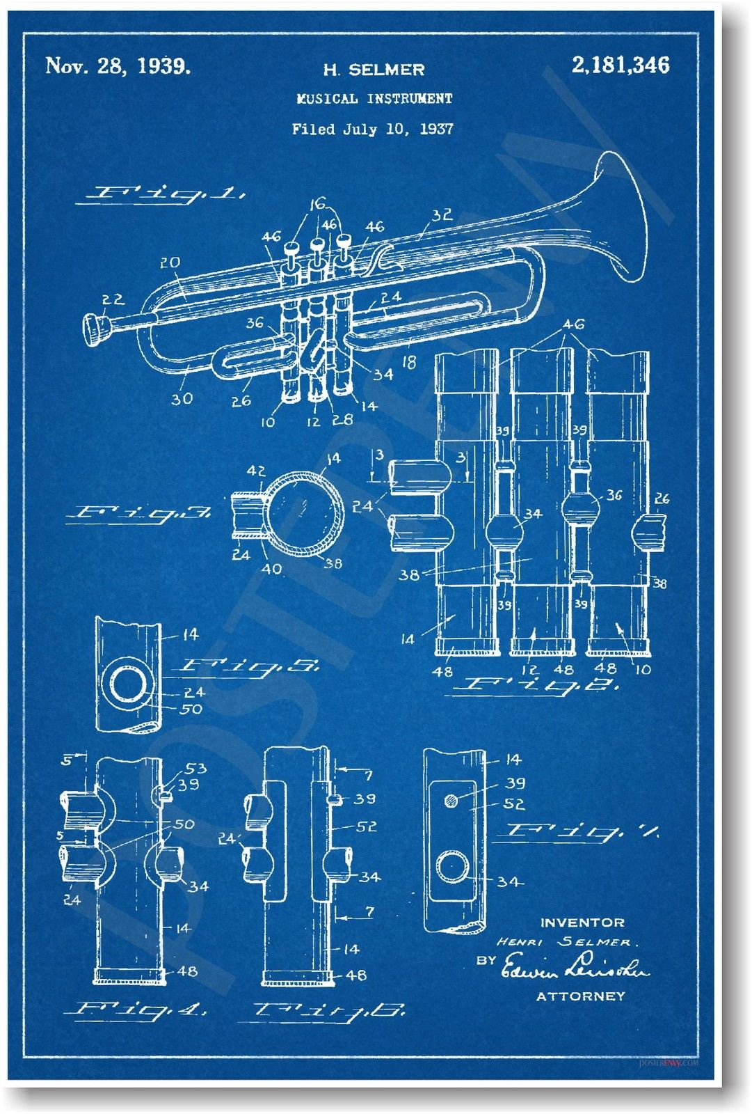 173240 Trumpet Patent Vintage Invention Patent Decor WALL PRINT POSTER US