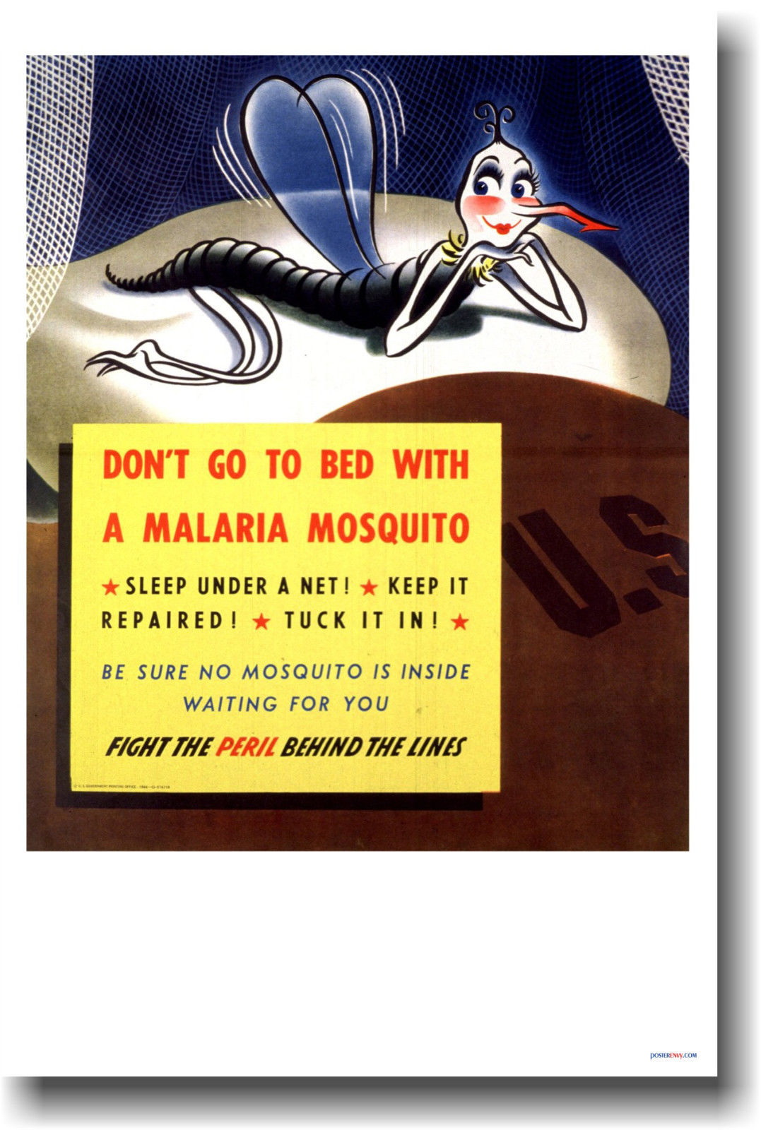 173270 Don't Go To Bed With a Malaria Mosquito VINTAGE WALL PRINT POSTER CA