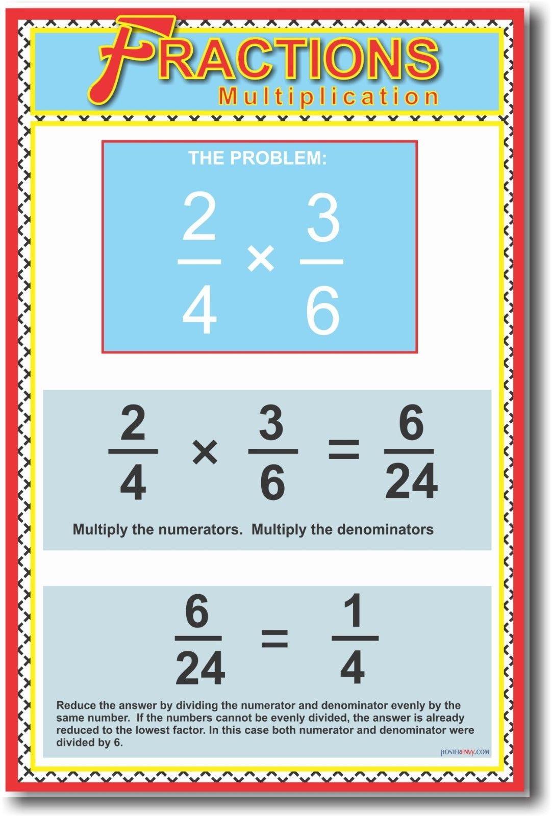 174217 fractions multiplication math common core decor wall print