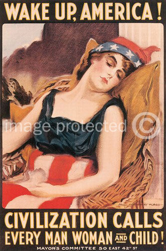 174557 Wake Up America World War I US Military Vintage WALL PRINT POSTER CA