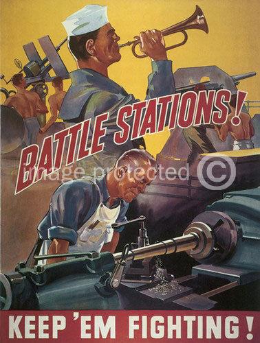 174699 Battle Stations World War Ii US Navy Vintage WW2 WALL PRINT POSTER CA