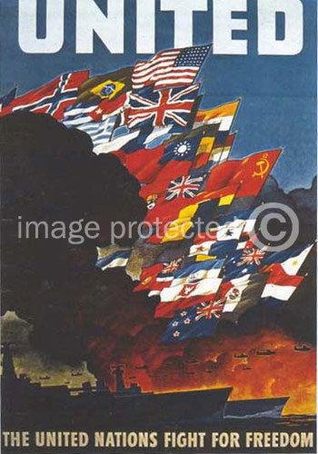 174936 British WW2 United Nations Fight Decor WALL PRINT POSTER CA