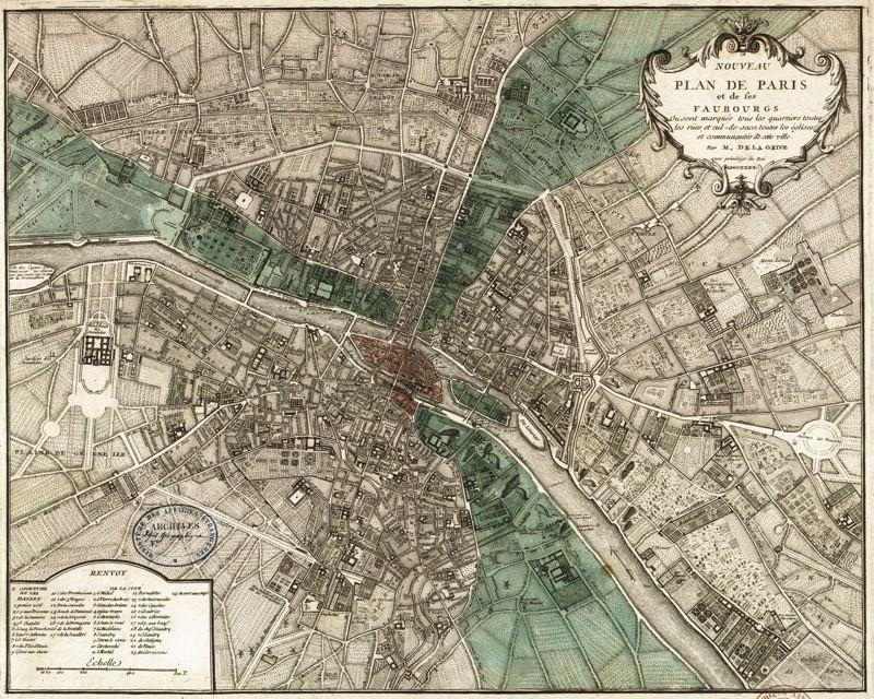 175423 PARIS MAP Plan de Paris by Vintage Decor WALL PRINT POSTER AU