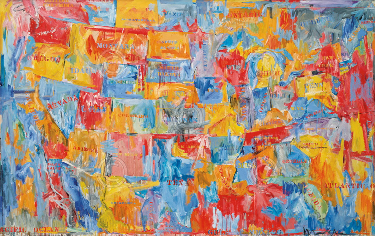 Details zu 175503 Map by Jasper Johns USA United States of America WALL  PRINT POSTER DE