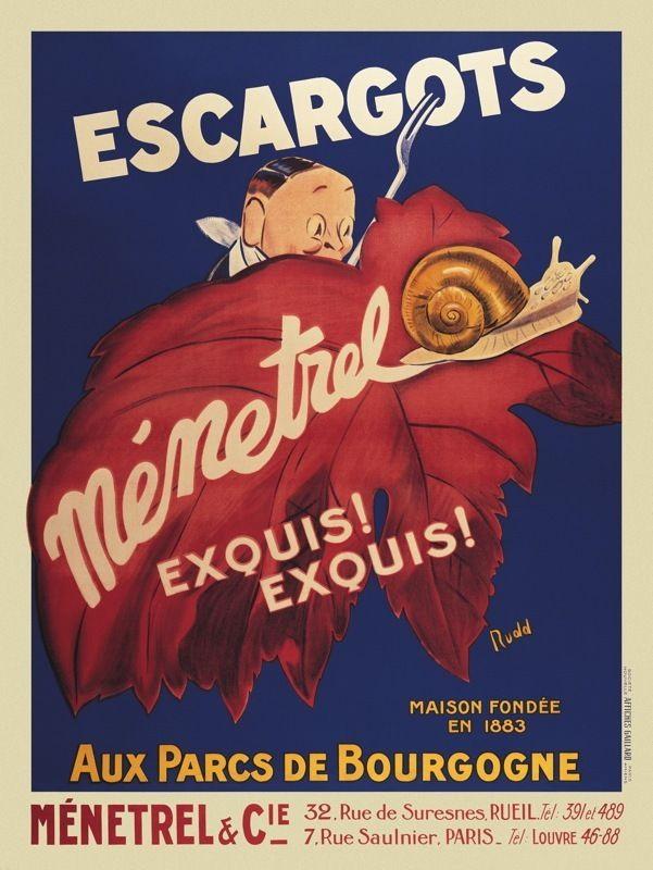 176238 VINTAGE FOOD Escargots Menetrel by Vintage Decor WALL PRINT POSTER AU