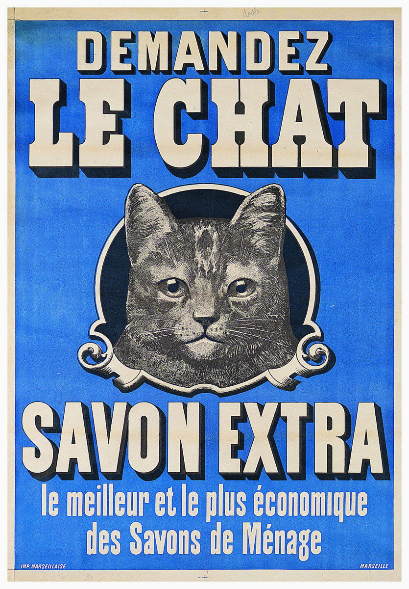 176879-vintage-Cat-DEMANDEZ-LE-CHAT-savon-Publicite-Mural-imprime-Poster-USA