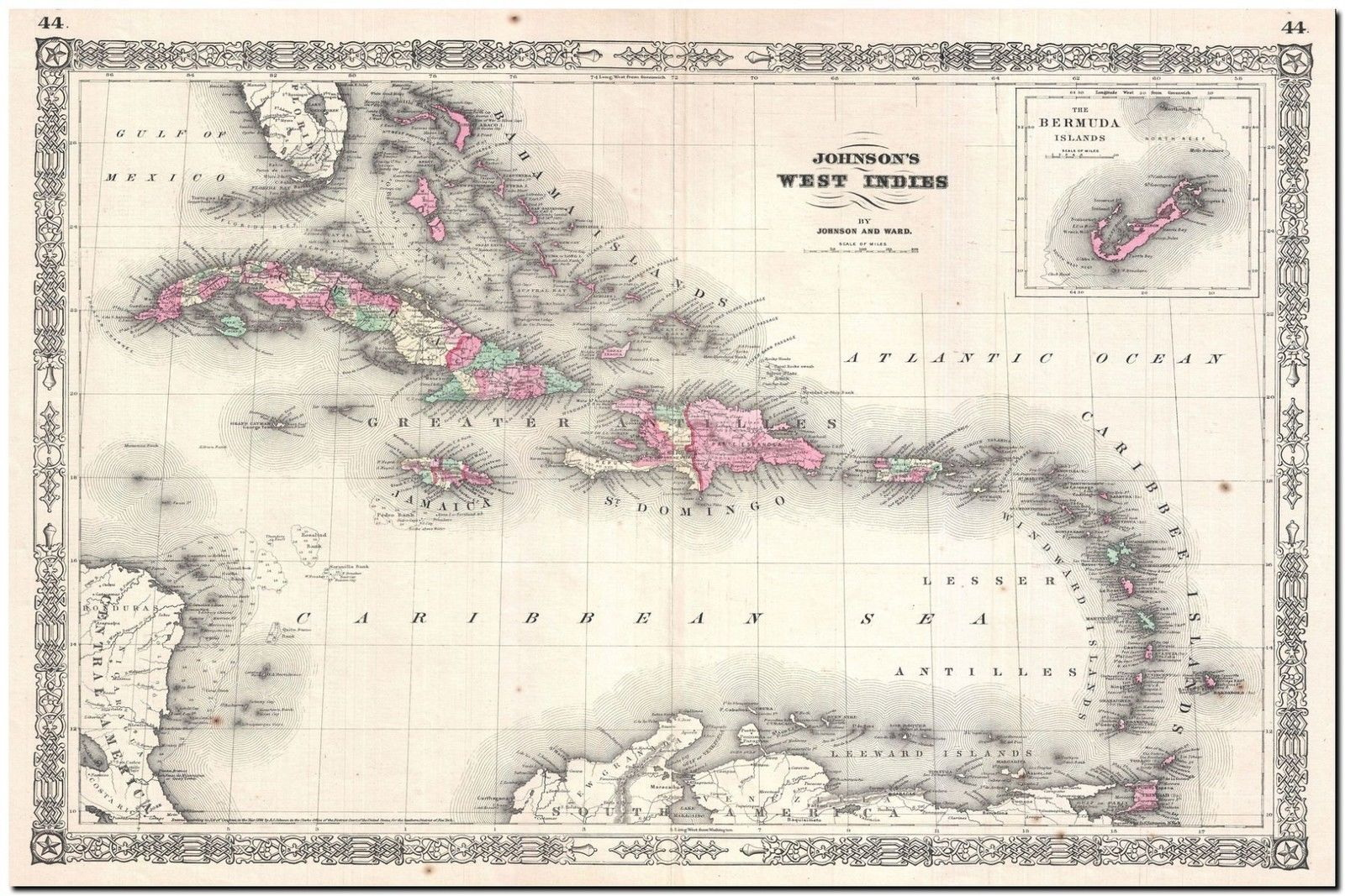 178223 VINTAGE CARIBBEAN MAP DECOR WALL PRINT POSTER US